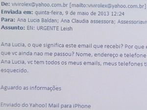 Trecho de e-mail mostra vereadora Viviane Alexandre (PPS) cobrando satisfações da então chefe da CCZ, Ana Lúcia Baldan (Foto: Reprodução/EPTV)