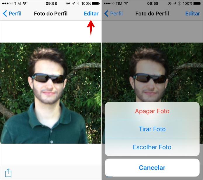Alterando a foto de perfil (Foto: Reprodução/Helito Bijora)