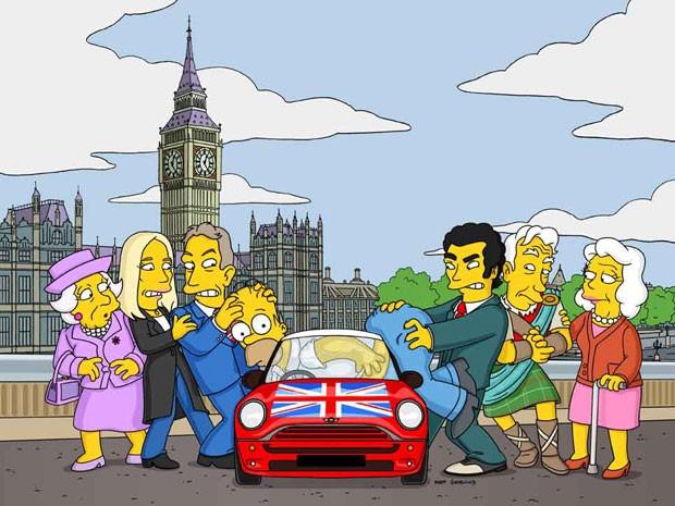 Promotional artwork for the episode featuring Queen Elizabeth II, J. K. Rowling, Tony Blair, Evan Marriott, Sir Ian McKellen e Edwina em 'Os Simpsons' (Foto: Divulgação)