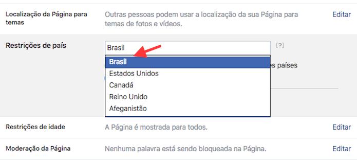 Opção para definir um país para uma página do Facebook (Foto: Reprodução/Marvin Costa)