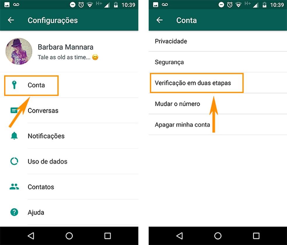 Acesse a verificação em duas etapas do WhatsApp no Android (Foto: Reprodução/Barbara Mannara)