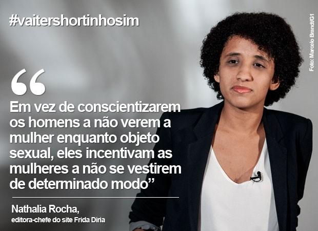 Dia da Mulher: Natália Rocha fala sobre a hashtag #vaitershortinhosim (Foto: Marcelo Brandt/G1)