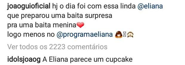 Look de Eliana roubou a cena em foto da apresentadora com João Guilherme (Foto: Reprodução/Instagram)