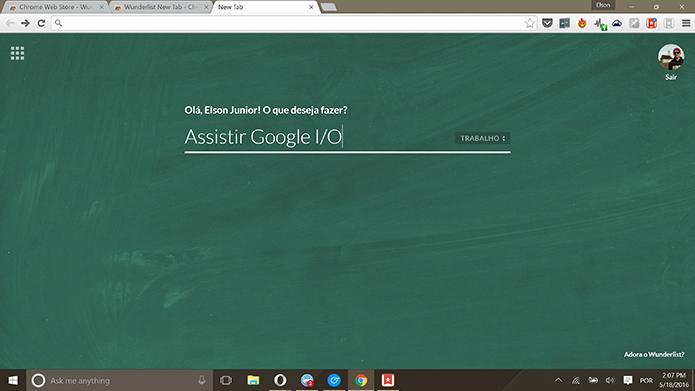 Usuário pode adicionar tarefas a partir de nova aba no Google Chrome (Foto: Reprodução/Elson de Souza)