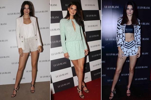 Os três looks usados por Kendall Jenner em eventos em São Paulo (Foto: Iwi Onodera/ EGO e Le Franco/ Ag. News)