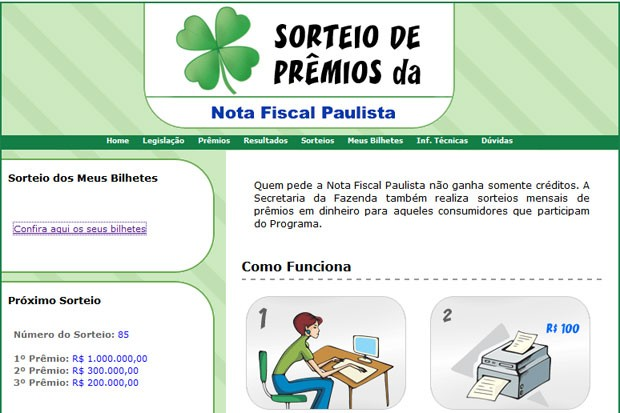 Sorteio da Nota Fiscal Paulista (Foto: Reprodução/Site oficial)