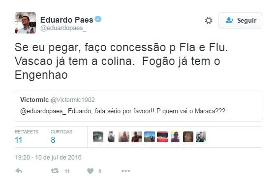 Eduardo Paes responde internautas no Twitter sobre Maracanã