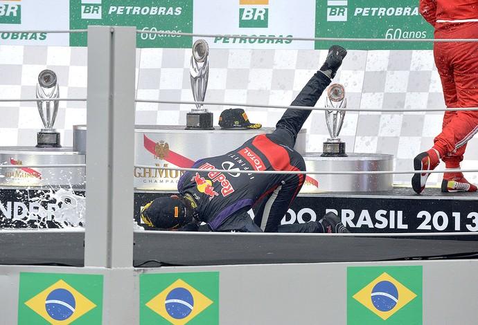 Mark Webber queda pódio despedida GP Brasil (Foto: AFP)