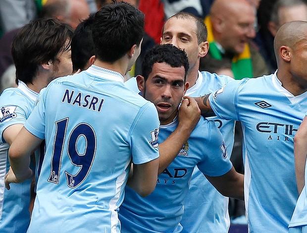 Tevez - Norwich x Manchester City (Foto: Agência Reuters)