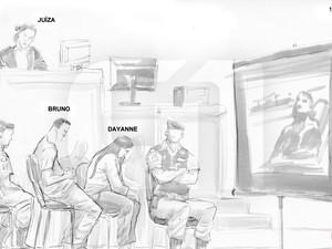 05/03/2013 - Ilustração mostra momento de exibição de vídeo no julgamento (Foto: Léo Aragão/G1)
