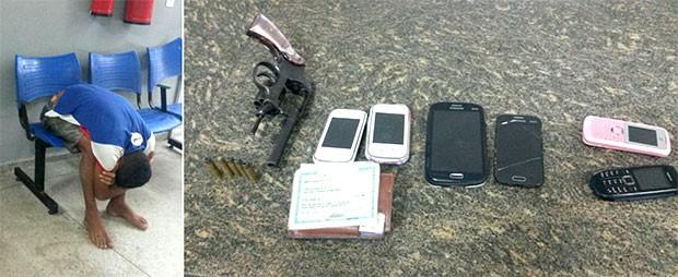 com o adolescente foram apreendidos um revólver, cinco munições e seis aparelhos celulares (Foto: Marksuel Figueredo/Inter TV Cabugi)