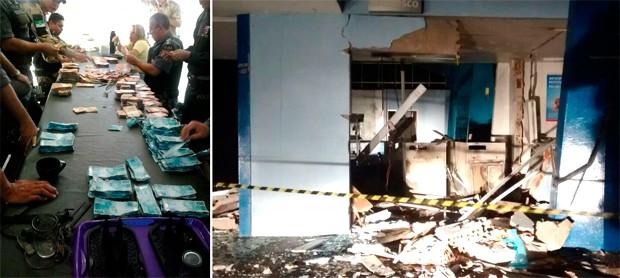 Segundo a PM, dinheiro dos caixas foi recuperado; explosão destruiu terminais do Bradesco dentro da usina Estivas, de cana de açúcar (Foto: Divulgação/Polícia Militar do RN)