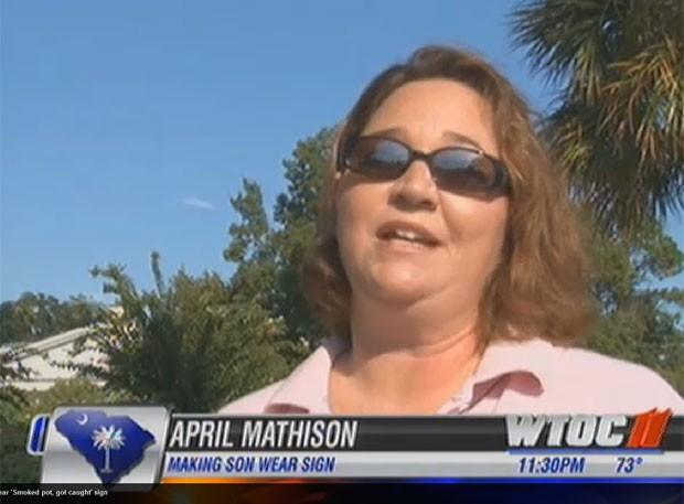 Punição foi aplicada pela mãe April Mathison. (Foto: Reprodução/WTOC)