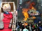 Críticos de Thatcher celebram funeral queimando boneca da ex-premiê