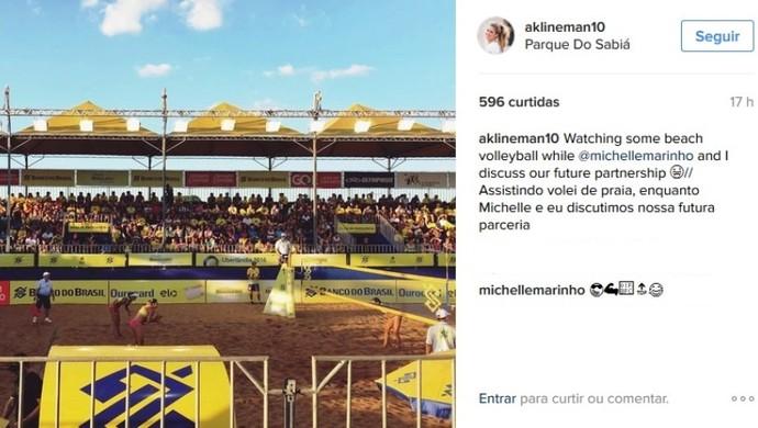 Alix Klineman ponteira Praia Clube Circuito Brasileiro vôlei de praia Uberlândia (Foto: Reprodução/Instagram)