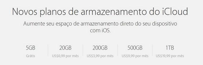 Planos de preço do iCloud (Foto: Reprodução/Apple)