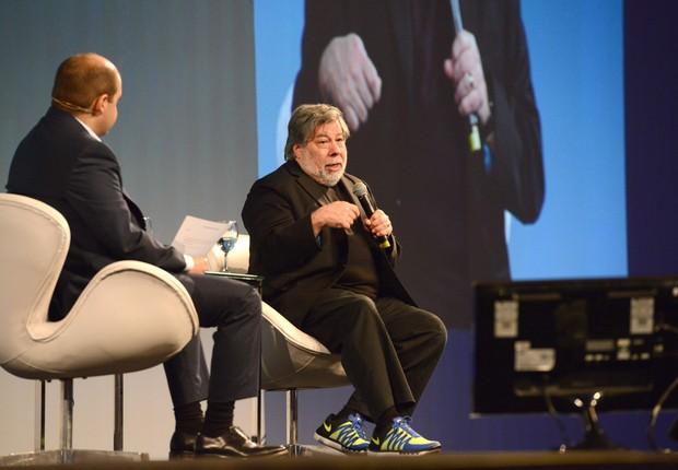Steve Wozniak, um dos fundadores da Apple, durante o HSM ExpoManagement, que acontece em São Paulo  (Foto: Opespace)