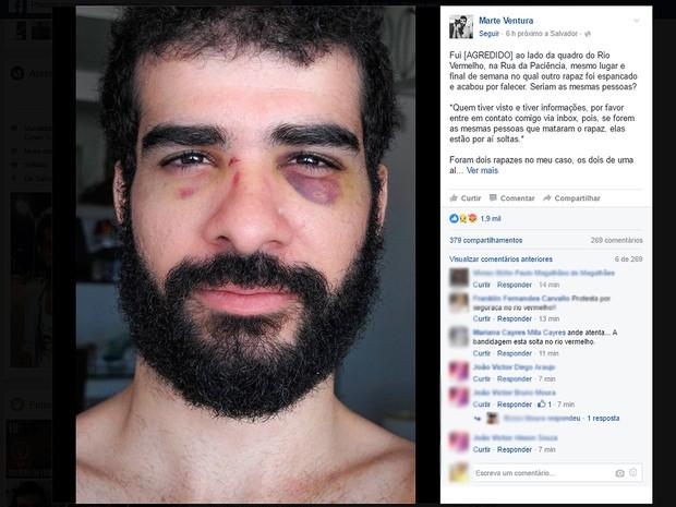 Cantor disse ter sido agredido na mesma rua e no mesmo dia em que jovem foi espancado (Foto: Reprodução/Facebook)