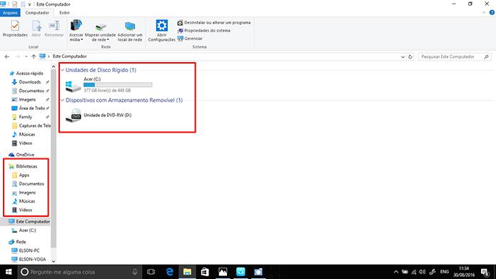 Windows Explorer terá agrupamento de drives e bibliotecas como no Windows 7 (Foto: Reprodução/Elson de Souza)