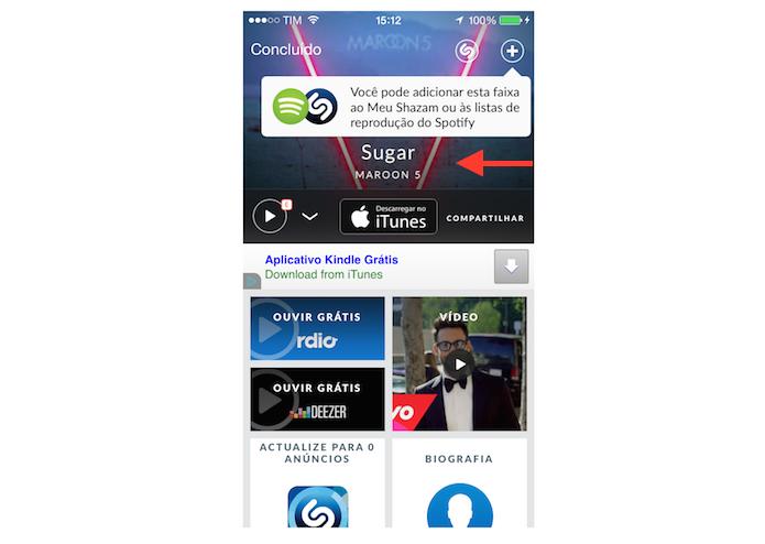 Página de dados de uma canção reconhecida pelo Shazam (Foto: Reprodução/Marvin Costa)