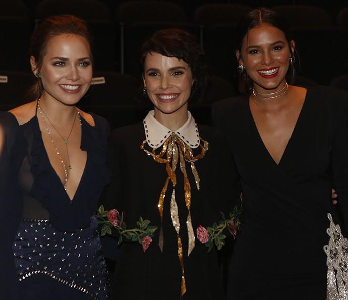 Letícia, Débora e Bruna distribuíram sorrisos na coletiva (Foto: Ellen Soares/Gshow)