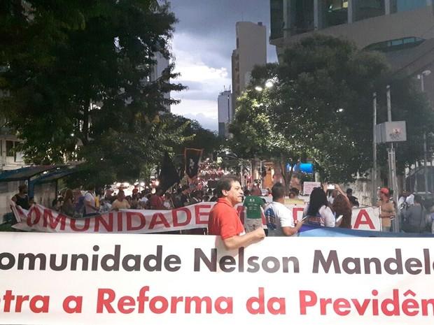 Ato contra reforma da Previdência no Centro de Campinas (Foto: Roberta Steganha/ G1)