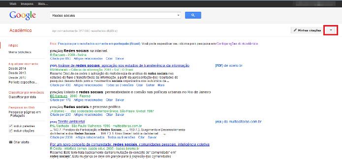 Pesquisa avançada no Google Acadêmico (Foto: Reprodução/Lívia Dâmaso)