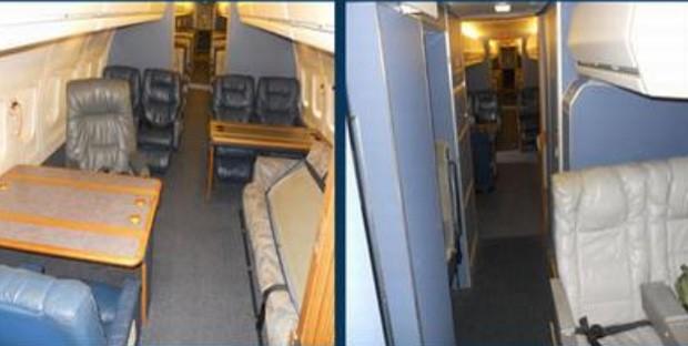 Cabine VIP da aeronave que serviu como Força Aérea 1 conta com 10 lugares (Foto: Reprodução/GSA Auctions)