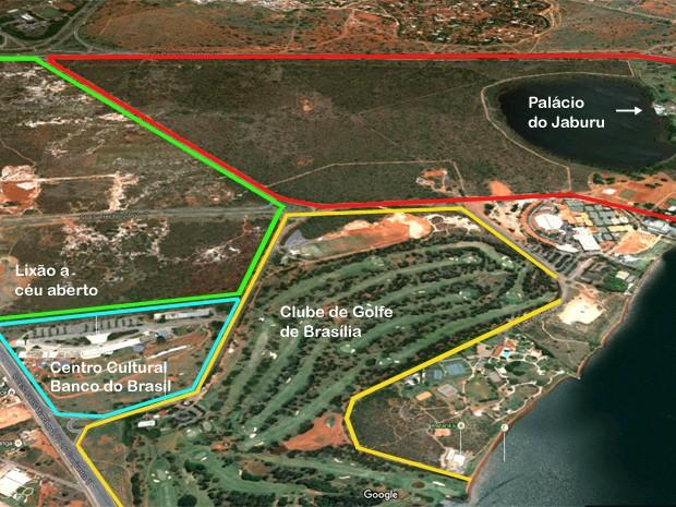 Imagem de satélite mostra lixão a céu aberto junto às áreas do Palácio do Jaburu, residência oficial da vice-Presidência, Clube de Golfe de Brasília e do Centro Cultural Banco do Barsil, em Brasília (Foto: Google/Reprodução e G1)