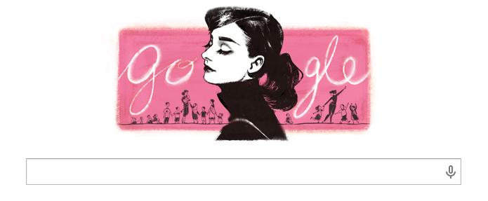 Doodle deste domingo faz homenagem à Audrey Hepburn (Foto: Reprodução/Google)