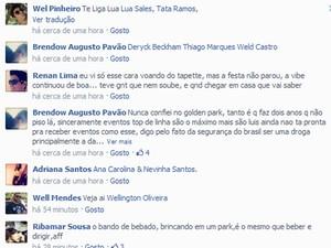 Comentários afirmam que festa não parou após incidente (Foto: Reprodução/Facebook)