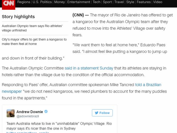 Rede CNN ressaltou escolha da delegação australiana de ficar em hotéis (Foto: Reprodução internet)