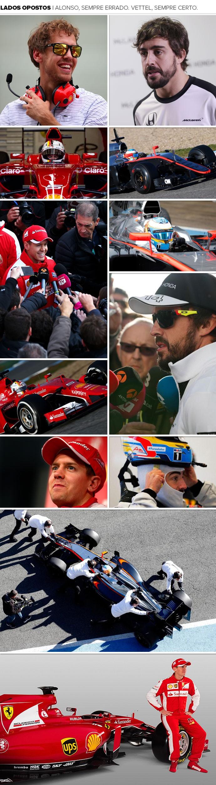 mosaico Vettel e Alonso (Foto: Montagem sobre foto da Getty Images)