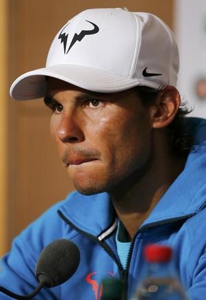 Rafael Nadal em entrevista coletiva após derrota em Roland Garros (Foto: Reuters)