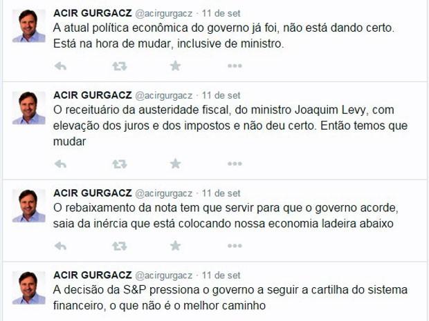 Mensagens do senador Acir Gurgacz no microblog Twitter sobre a política econômica do governo (Foto: Reprodução/Twitter)