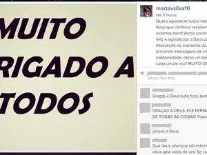Jogadora fez postagem em rede social (Foto: Reprodução/instagram)