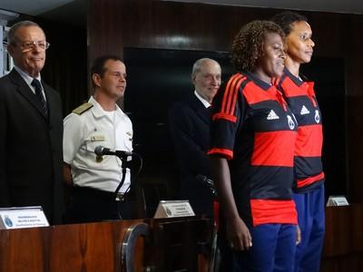 Tânia Maranhão e Maycon, as jogadoras do Flamengo/Marinha (Foto: Jessica Mello)