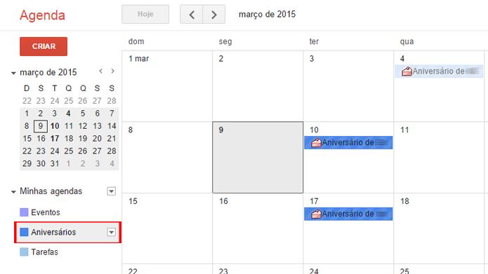 Menu exibe as mesmas opções para diversas agendas diferentes (foto: Reprodução/Google)