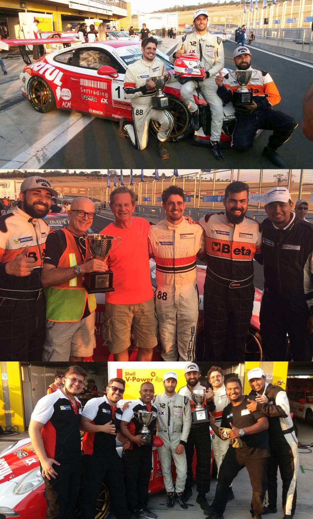 Equipe Motul_P4 na geral e na categoria CUP, pilotos, mecânicos e Saloma de intruso (Foto: Arquivo pessoal)
