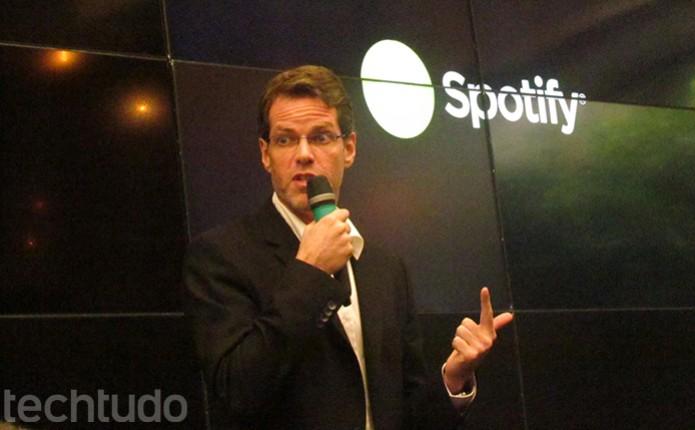 Diretor do Spotify para a América Latina fala no lançamento nacional do servio (Foto: TechTudo/Paulo Alves)