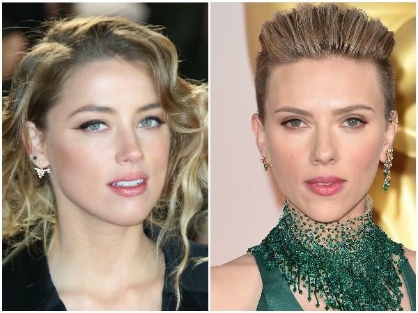 Amber Heard e Scarlett Johansson – Além do cabelo loiro, as atrizes compartilham olhos claros e lábios carnudos. (Foto: Getty Images)