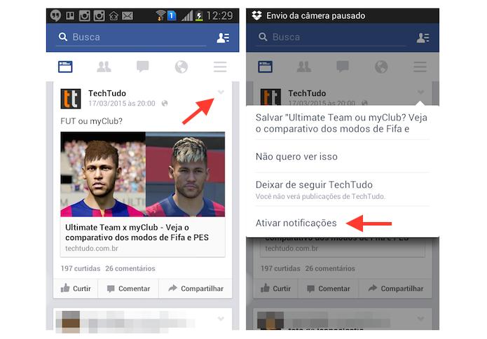 Ativando o recebimento de notificações de uma postagem no Facebook para Android (Foto: Reprodução/Marvin Costa)