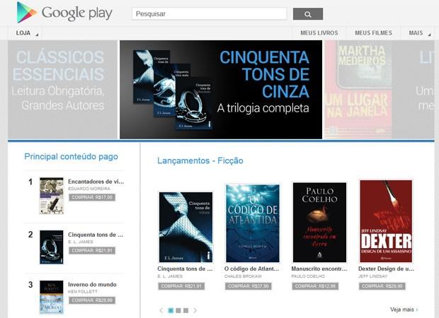Google Play começou a vender livros digitais no Brasil (Foto: Reprodução)