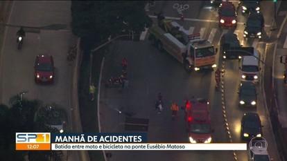 Acidentes com motos complicam trânsito na Marginal Pinheiros