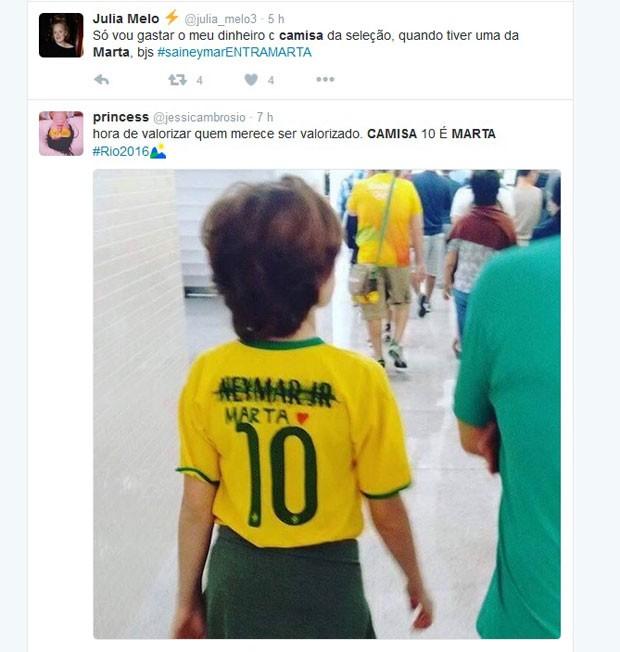 Em postagens no Twitter, internautas reclamam de falta de camisa da jogadora Marta (Foto: Reprodução/Twitter)