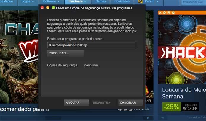 Defina em que local salvou seu jogo do Steam (Foto: Reprodução/Felipe Vinha)