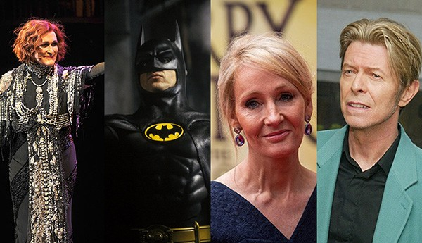 Glenn Close, Michael Keaton, J.K. Rowling, David Bowie (Foto: Getty Images / Divulgação)