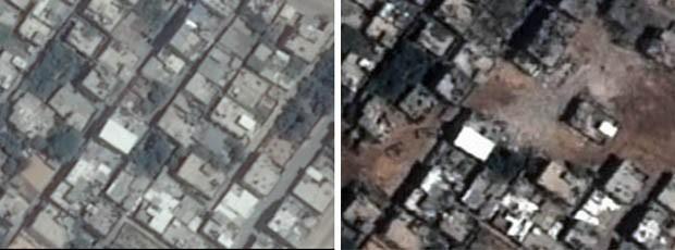 Antes e depois de área em Beit Hanun, na Faixa de Gaza, com destruição causada pela guerra.  (Foto: Unosat/United Institute for Training and Research)