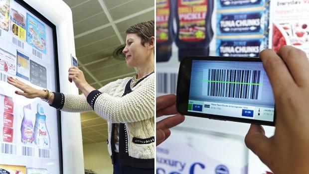 Com aplicativo do Tesco, usuário pode escanear código de barra de produtos para adicioná-los ao seu carrinho de compras (Foto: Divulgação)