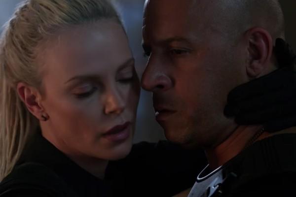 Charlize Theron e Vin Diesel em cena do trailer de 'Velozes e Furiosos 8' (Foto: Reprodução)